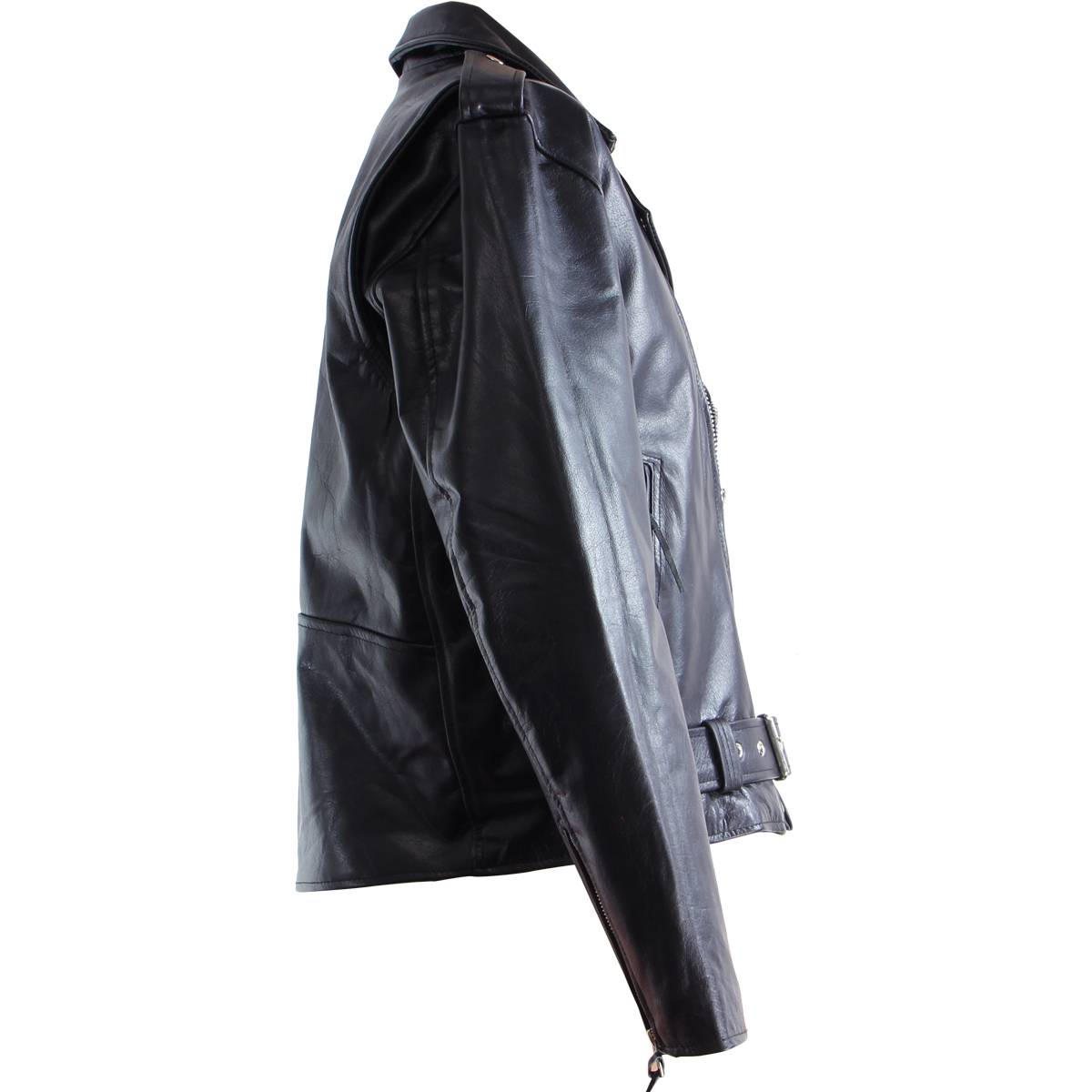 Black-TOP-GRADE-Leather-Motorcycle-Biker-Jacket-2