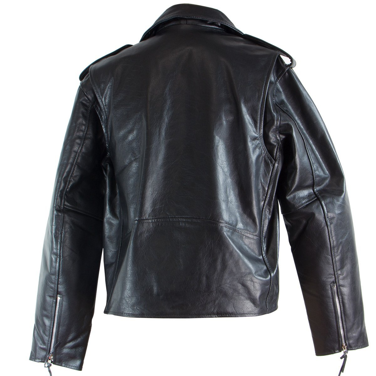 Black-TOP-GRADE-Leather-Motorcycle-Biker-Jacket-5