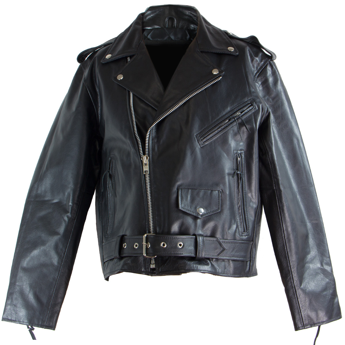 Black-TOP-GRADE-Leather-Motorcycle-Biker-Jacket