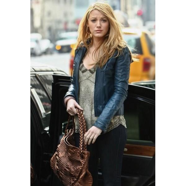 Blake-Lively-Blue-Leather-Jacket1-600×600