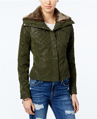 Green-Wide-Puffer-Faux-Leather-Bomber-Quilted-Jacket-For-Sale-2