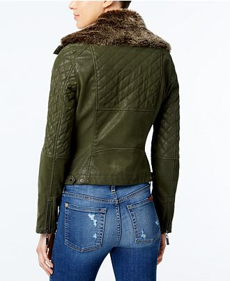 Green-Wide-Puffer-Faux-Leather-Bomber-Quilted-Jacket-For-Sale