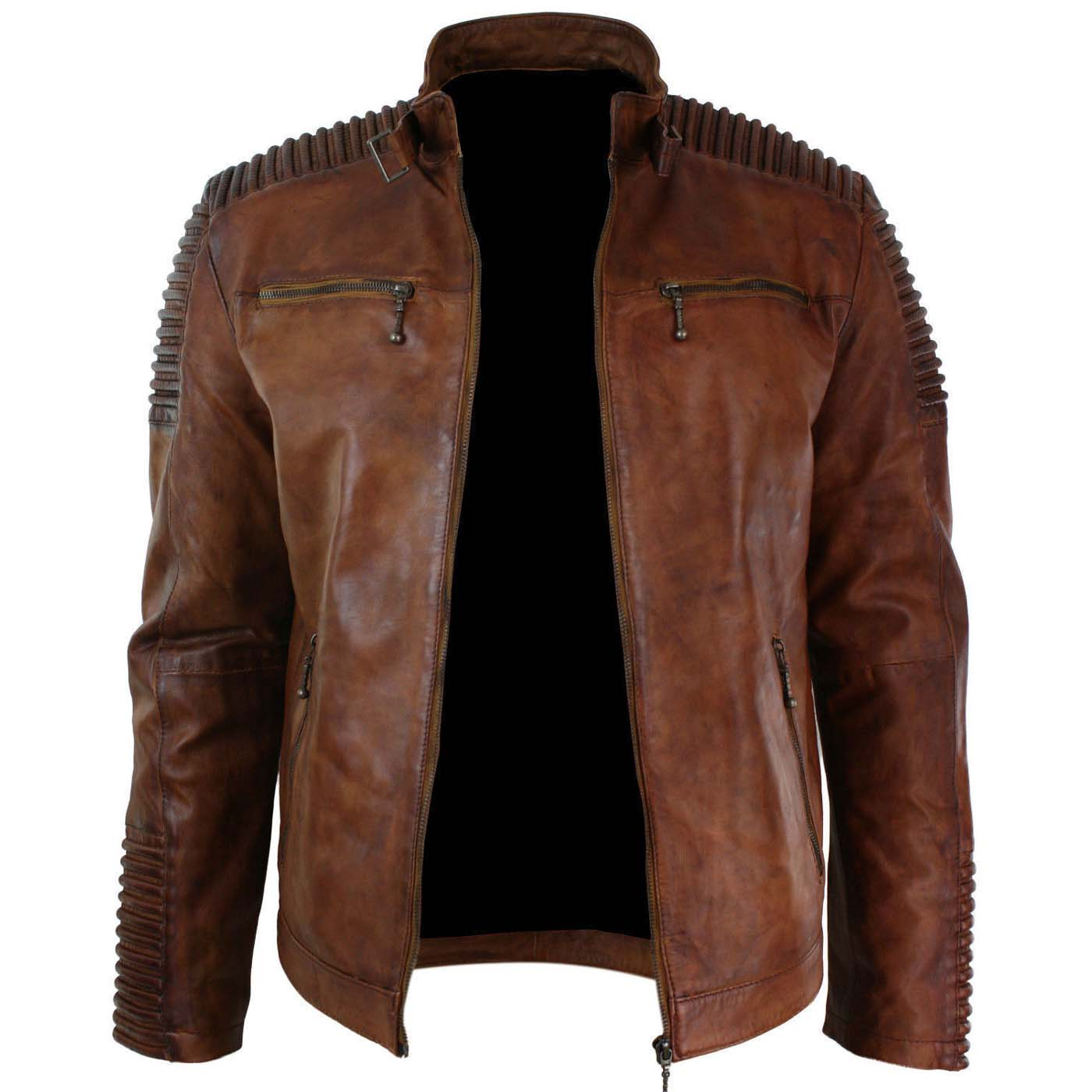 Mens-Biker-Vintage-Cafe-Racer-Wax-Distressed-Brown-Leather-Jacket