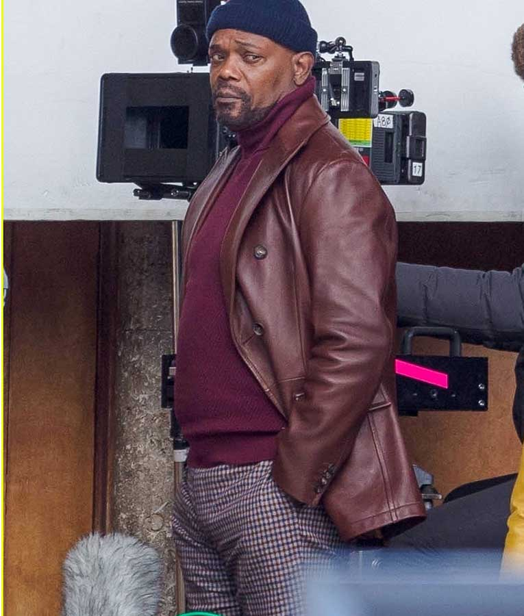 Samuel-L.-Jackson-John-Shaft-2019-Brown-Leather-Blazer