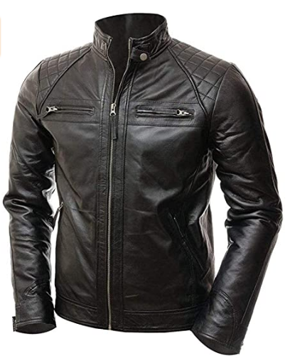 Classic Diamond Black Biker Quilted Vintage Motorcycle Real Leather Jacket