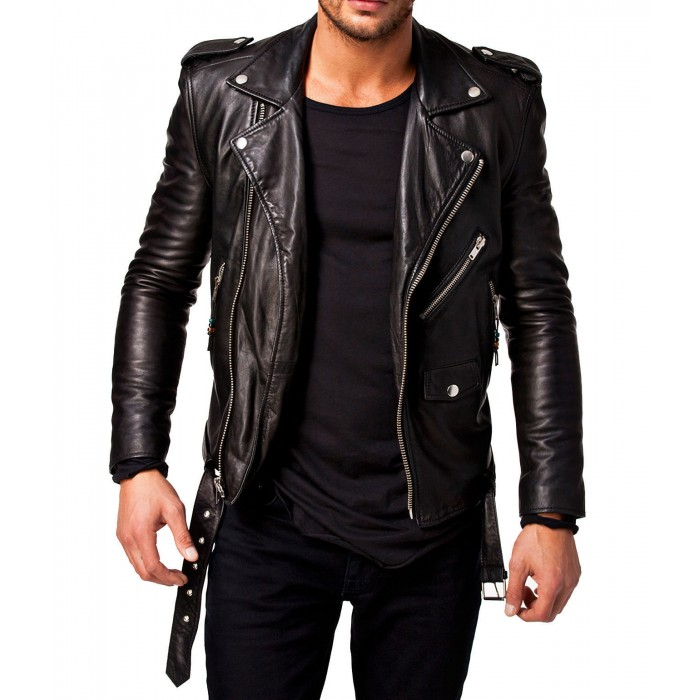 Men Leather Jacket Black New Slim fit Biker genuine lambskin jacket (1)-700×700