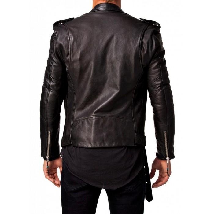 Men Leather Jacket Black New Slim fit Biker genuine lambskin jacket (2)-700×700