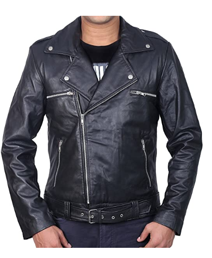 Walking Dead Jeffrey Dead Morgan Negan Men's Black Sheep Leather Jacket