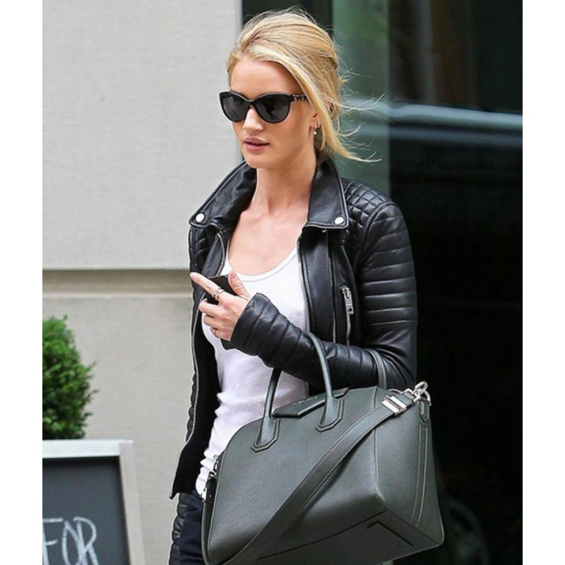 Rosie Huntington Whiteley Leather Black Jacket