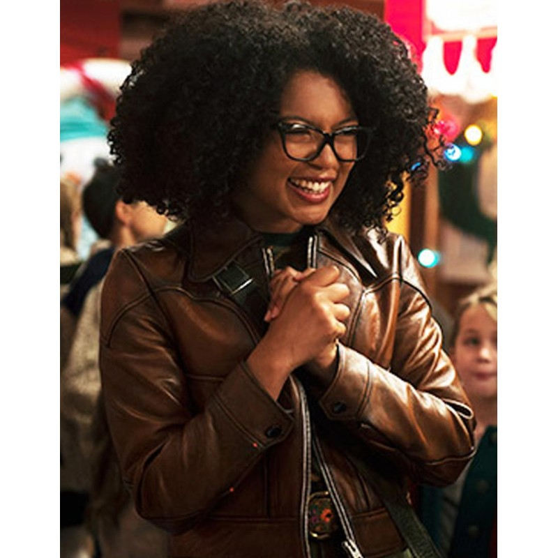 Chilling Adventures of Sabrina Roz Cropped Leather Brown Jacket
