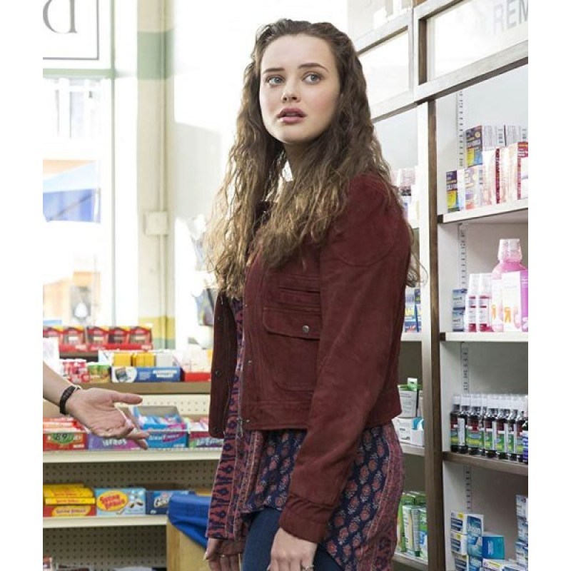 Hannah Baker Suede Leather Maroon Jacket